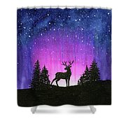 Winter Forest Galaxy Reindeer Shower Curtain