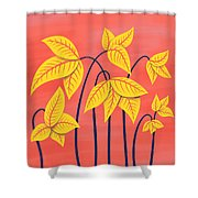 Abstract Flowers Geometric Art In Vibrant Coral And Yellow  Shower Curtain