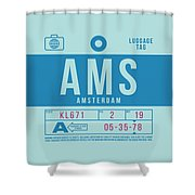 Retro Airline Luggage Tag 2.0 - Ams Amsterdam Netherlands Shower Curtain