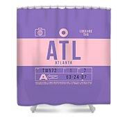 Retro Airline Luggage Tag 2.0 - Atl Atlanta United States Shower Curtain