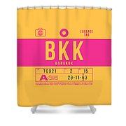 Retro Airline Luggage Tag 2.0 - Bkk Bangkok Thailand Shower Curtain