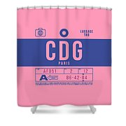 Retro Airline Luggage Tag 2.0 - Cdg Paris Charles De Gaulle France Shower Curtain
