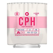 Retro Airline Luggage Tag 2.0 - Cph Copenhagen Denmark Shower Curtain