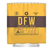 Retro Airline Luggage Tag 2.0 - Dfw Dallas Fort Worth United States Shower Curtain