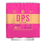 Retro Airline Luggage Tag 2.0 - Dps Denpasar Bali Indonesia Shower Curtain