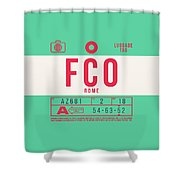 Retro Airline Luggage Tag 2.0 - Fco Rome Italy Shower Curtain