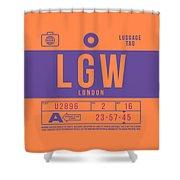 Retro Airline Luggage Tag 2.0 - Lgw London Gatwick Airport United Kingdom Shower Curtain