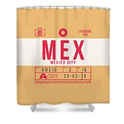 Retro Airline Luggage Tag 2.0 - Mex Mexico City International Airport Mexico Shower Curtain