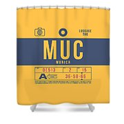 Retro Airline Luggage Tag 2.0 - Muc Munich International Airport Germany Shower Curtain