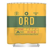 Retro Airline Luggage Tag 2.0 - Ord Chicago O'hare Airport United States Shower Curtain