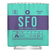 Retro Airline Luggage Tag 2.0 - Sfo San Francisco International Airport United States Shower Curtain