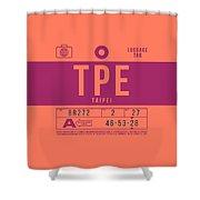 Retro Airline Luggage Tag 2.0 - Tpe Taipei Taoyuan Airport Taiwan Shower Curtain