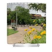 Urban Pathways Butler Park At Austin Hike And Bike Trail With Train Shower Curtain