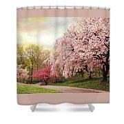 Asian Cherry Grove Shower Curtain