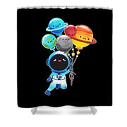 Astronaut With Planet Balloons Outta Space Shower Curtain