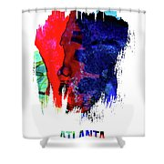 Atlanta Skyline Brush Stroke Watercolor   Shower Curtain