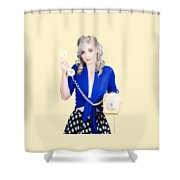 Attractive Blond Female Secretary On Vintage Phone Shower Curtain