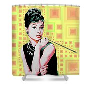 Audrey Hepburn Breakfast At Tiffanys In Mca Mid Century Abstract Squares 20190219 P41 Shower Curtain by Wingsdomain Art and Photography