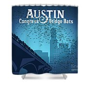 Austin Congress Bridge Bats In Blue Silhouette Shower Curtain
