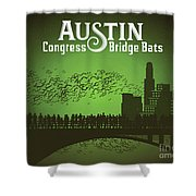 Austin Congress Bridge Bats In Green Silhouette Shower Curtain