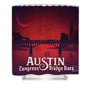 Austin Congress Bridge Bats In Red Silhouette Shower Curtain