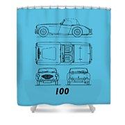 Austin Healey 100 Blueprint - Black Shower Curtain