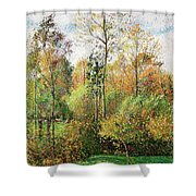 Automne, Peupliers, Eragny - Digital Remastered Edition Shower Curtain