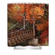 Autumn Across The Bridge  Shower Curtain