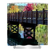 Autumn Bridge Shower Curtain by David Millenheft