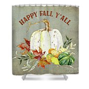 Autumn Celebration - 4 Happy Fall Y'all White Pumpkin Fall Leaves Gourds Shower Curtain
