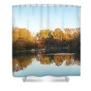 Autumn Mirror - Silky Wavelets Caused By Ducks Shower Curtain