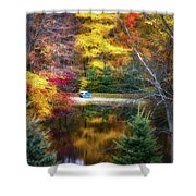Autumn Pond With Rowboat Shower Curtain