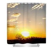 Autumn Sun Rising Over Barren Trees Shower Curtain