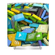 Background Crowded With Various Beveled Square Apps  Shower Curtain