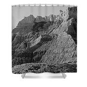 Badlands South Dakota Black And White Shower Curtain