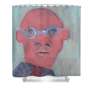 Bald Man In Glasses Shower Curtain