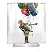 Balloons And Happy Guy Shower Curtain