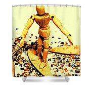 Balsa Boarder 1970 Shower Curtain