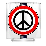 Ban The Bomb Road Sign Shower Curtain
