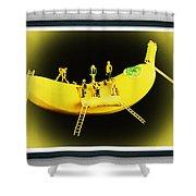 Banana Boat Mining Company Black Frame Shower Curtain