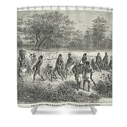 Band Of Captives In The Village Of Mbame Shower Curtain