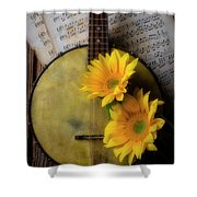 Banjo And Two Sunflowers Shower Curtain