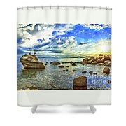 Bansai Rock, Lake Tahoe, Nevada, Panorama Shower Curtain
