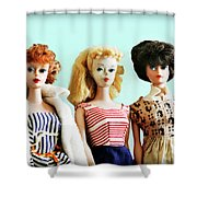Barbies On Blue Shower Curtain