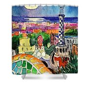 Barcelona By Moonlight Watercolor Painting By Mona Edulesco Shower Curtain