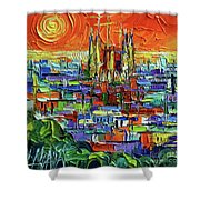Barcelona Orange View - Sagrada Familia View From Park Guell - Abstract Palette Knife Oil Painting Shower Curtain