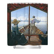 Barge Trip On The Elbe Near Dresden, Morning On The Elbe, 1827 Shower Curtain