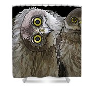 Barking Owls 2 Shower Curtain