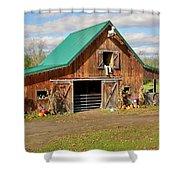 Barn In Autumn Shower Curtain