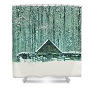 Barn In Snowfall Shower Curtain